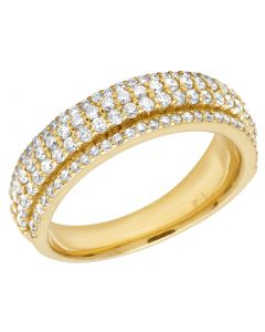 10K Yellow Gold Real Diamond 4 Row Ring Band 1.45 CT 7MM