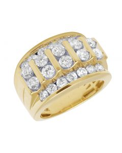 10K Yellow Gold Real Diamond Channel Set Mens Pinky Ring 3.28 CT