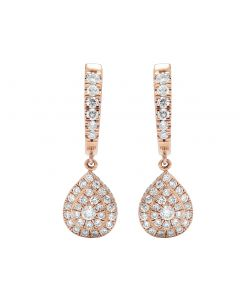 14K Rose Gold 1.5 CT Diamond Dangle Pear Shape Tear Drop Earrings