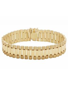Solid 10K Gold Men's Presidential Style Designer Bracelet 16MM