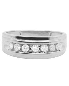 10K White Gold One Row Real Diamond Channel Wedding Band Ring 0.75 Ct