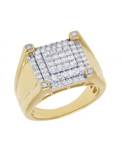 10K Yellow Gold Real Diamond Mens Square Claw Ring 1.35 CT