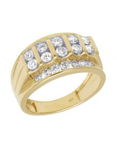 10K Yellow Gold Real Diamond Channel Set Mens Pinky Ring 1.65 CT