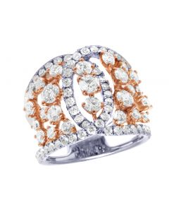 Ladies 14K Two-Tone Diamond Open Overlapping Cocktail Ring 2.55CT