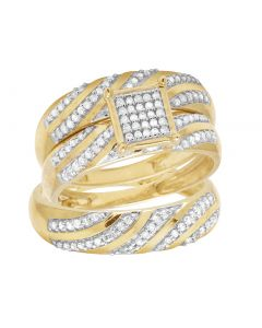 10K Yellow Gold Real Diamond Trio Bridal Ring Set 3/8 CT