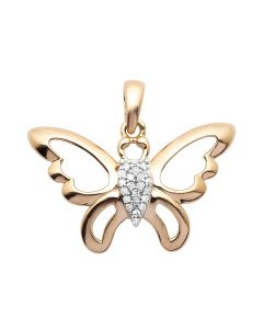 10K Rose Gold Butterfly Real Diamond Pendant 0.05ct