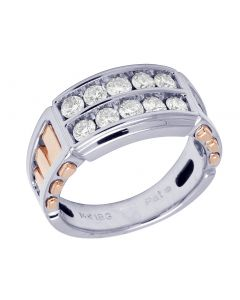 14K Two Tone Gold Real Diamond Mens Channel Ring 1.25 CT