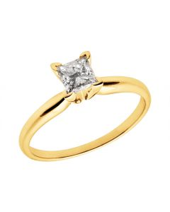 14K Yellow Gold Princess Diamond Solitaire Engagement Ring 1.0ct