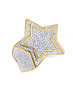Mens 10K Yellow Gold Real Diamond Pinky Super Star Ring 2CT