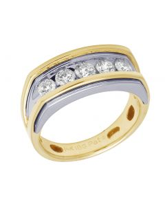 14K Two Tone Gold Real Diamond Mens Channel Set Ring 1.05 CT