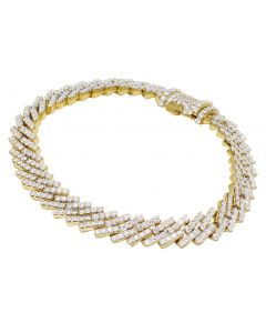 "10K Yellow Gold 1 Row Diamond Cuban Bracelet 10MM 8.5"" 11.9CT"