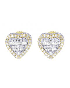 Yellow Gold Heart Baguette Diamond Stud Earrings 9MM 0.75 CT