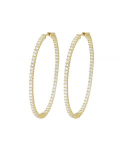 "14K Yellow Gold Inside-Out Diamond Hoop Earrings 2.1"" 4.75CT"