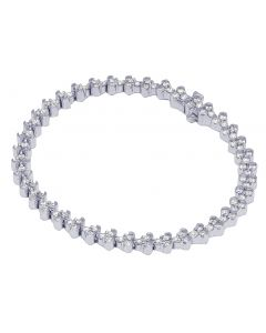 "14K White Gold Ladies Designer Diamond Bracelet 5MM 7.25"" 3.5CT"