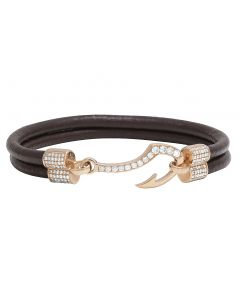 14K Rose Gold Diamond Fish Hook Angkor Brown Leather Bracelet 1.5CT