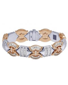 "Two Tone Gold Designer Diamond Baguette 18MM Bracelet 8"" 10.5CT"