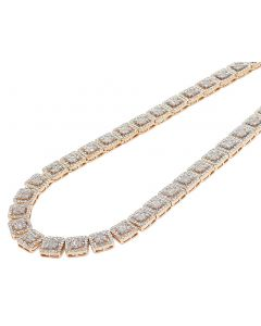 Two-Tone Gold 10MM Halo Square Baguette Diamond Necklace 21CT 21""