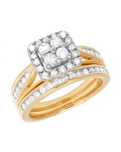 10K Yellow Gold Ladies Diamond Square Halo Wedding Bridal Set 1 Ct