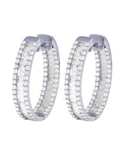Ladies 14K White Gold 5CT Diamond Inside-Out Baguette Hoop Earrings 1.1""