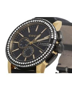 Gucci Gold Black PVD G-Chorno 44MM Diamond Watch YA101203 3.0 Ct
