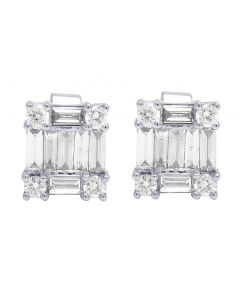 18K White Gold Real Diamond Baguette Stud Earrings 1.16 CT 9MM