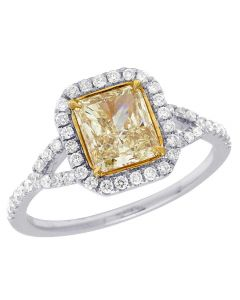 14K White Gold Canary Cushion Solitaire Diamond Engagement Ring 1.35 Ct 10MM