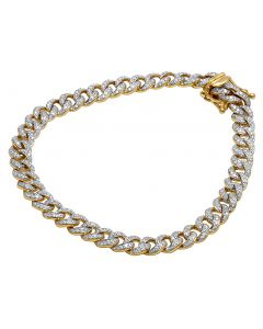 Mens 10K Yellow Gold Real Diamond Cuban Link Chain Bracelet 1.8 CT 8.5""