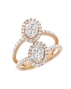 18k Rose Gold Ladies Oval Cluster Diamond Ring 1.5CT 20MM