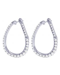 14K White Gold 3.5CT Diamond Twisted Inside-Out Hoop Earrings 1.25""