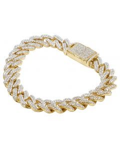Mens 10K Yellow Gold Miami Cuban Link Iced Out Real Diamond Bracelet 10.75CT