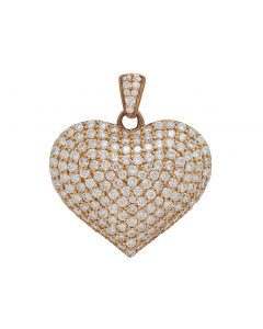 "14K Rose Gold Real Diamond Puff Heart Pendant 1"" 3 CT"