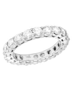14K White Gold Diamond Solitaire Eternity Wedding Band Ring 3 CT 3MM