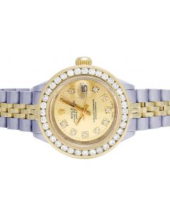 Rolex Datejust 18K/ Steel 26MM Champagne Dial Diamond Watch 2.75 Ct