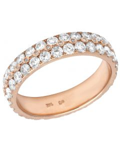 14K Rose Gold Real Diamond Eternity Band Ring 3 CT 5MM