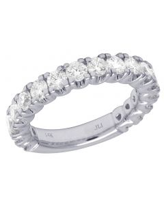 Ladies 14K White Gold 1 Row Solitaire Diamond Ring Band 2CT