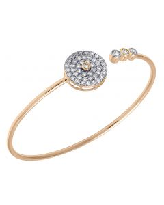 10K Rose Gold Real Diamond 3 Stone Round Flex Bangle 1.50 CT