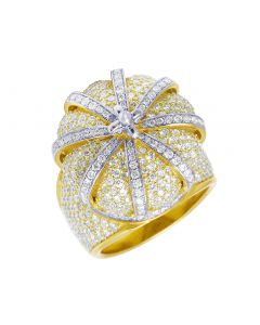 10k Yellow Gold 3D XL Crown Diamond Ring 5CT 22MM