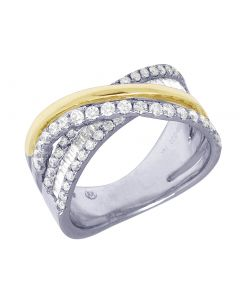 14K Two Tone Crisscross Baguette Diamond Designer Ring 1.5CT