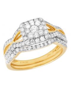 Ladies 14K Yellow Gold Diamond Square Halo Wedding Bridal Set 1 Ct