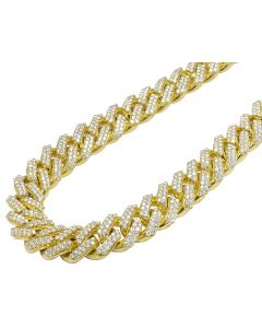 "Yellow Gold XL Prong Set Cuban Chain Half Kilo 25"" 18MM 55.25 CT"