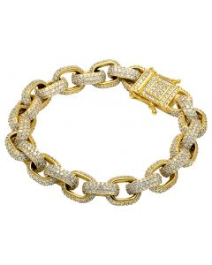 "Mens 14K Yellow Gold Anchor Link Rolo Hermes Diamond Bracelet 9"" 22.50CT"