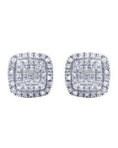 10K Yellow Gold Real Diamond Square Halo Cluster Earrings 0.25 CT 8mm