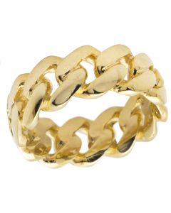 Solid 10K Yellow Gold Miami Cuban Link Ring Band 9MM