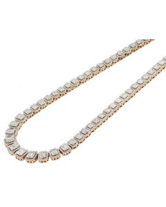 Two-Tone Gold Halo Baguette Graduating Diamond Necklace 15 CT 20""