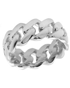 Solid 10K White Gold Miami Cuban Link Ring Band 9MM