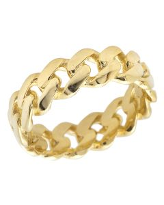 Solid 10K Yellow Gold Miami Cuban Link Ring Band 7MM