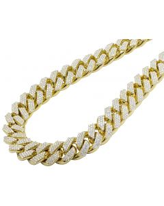 "Yellow Gold XL Prong Set Cuban chain 3/4th Kilo 25"" 20MM 57 CT"