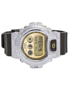 Unisex Casio G Shock Brown Glossy 6900 White Diamond Watch 3.0 Ct