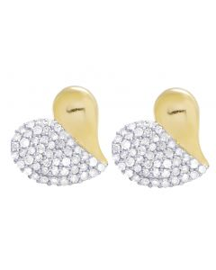 10K Yellow Gold Real Diamond Heart Studs Earrings 0.60 CT 12MM