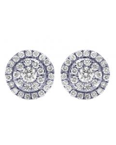 14K Yellow Gold Real Diamond Round Halo Cluster Earrings 0.53 CT 8mm
